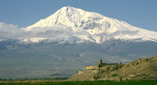 Mt. Ararat with a Medieval castle in foreground; Eastern Turkey